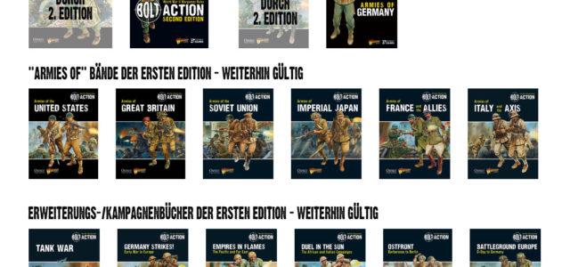 Da es Fragen zur Gültigkeit der einzelnen Bolt Action Bücher und Bände gibt, hier eine kurze Übersicht.